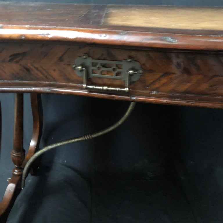 Luxurious Theodore Alexander Castle Bromwich Mahogany & Leather Writing Desk For Sale 6