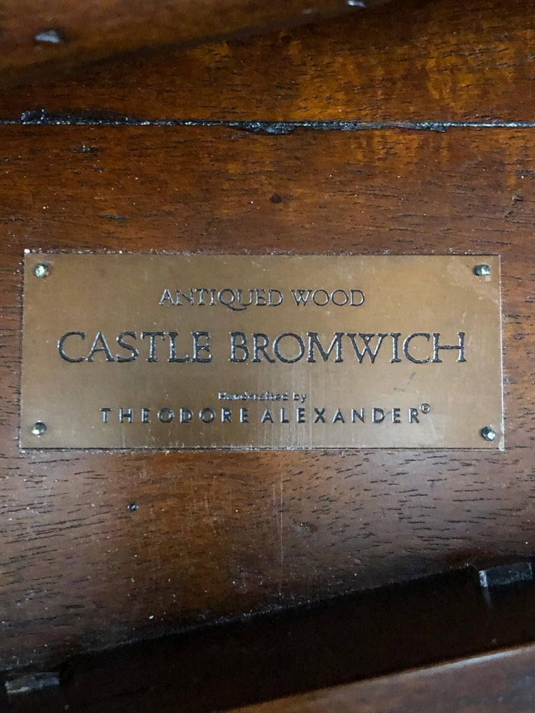Luxurious Theodore Alexander Castle Bromwich Mahogany & Leather Writing Desk For Sale 10