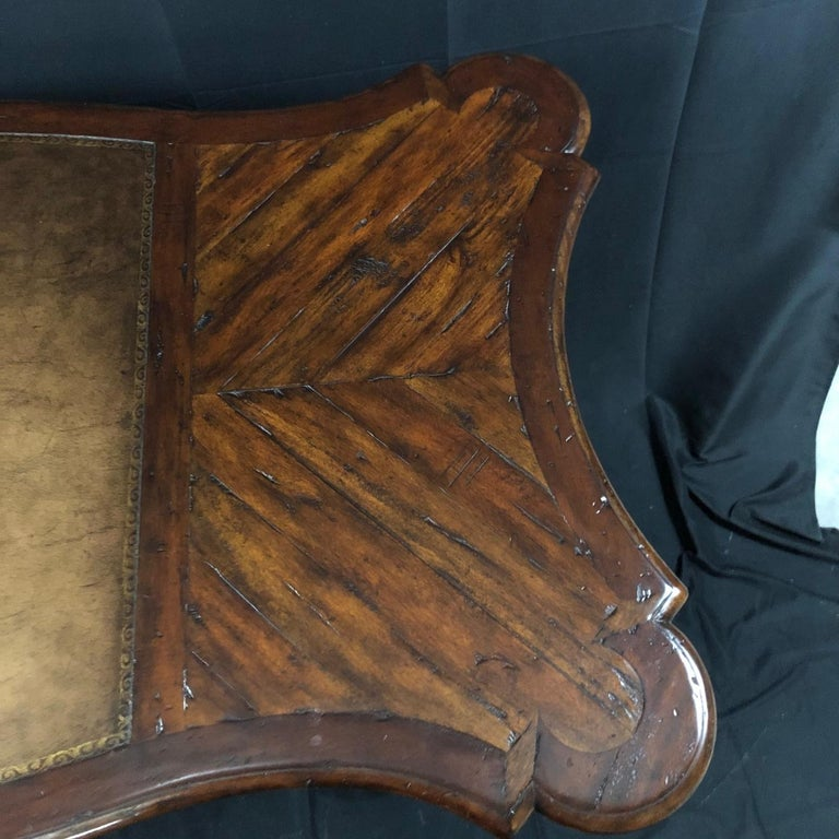 Luxurious Theodore Alexander Castle Bromwich Mahogany & Leather Writing Desk For Sale 3