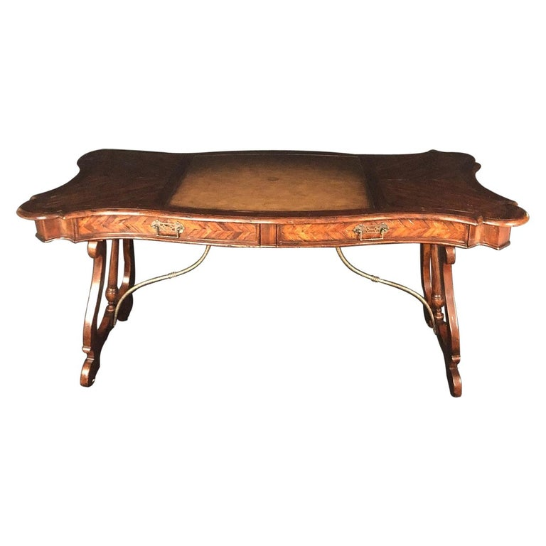 Luxurious Theodore Alexander Castle Bromwich Mahogany & Leather Writing Desk For Sale