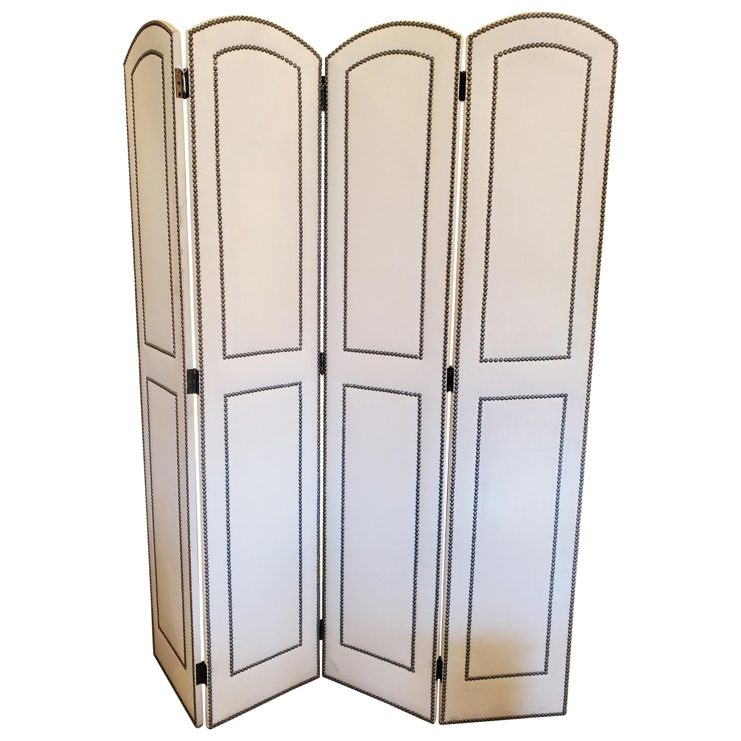 Luxurious Upholstered 4 Panel Screen with Nailheads
