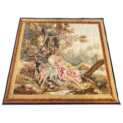 Luxurious Wonderful Antique French Aubusson Tapestry All Silk