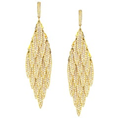 Luxury 15 Carat Large Pendant Diamond Feather 18 Karat Yellow Gold Earrings