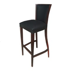 Luxury Art Deco Leather Bar Stool with Wood Frame for Hospitality