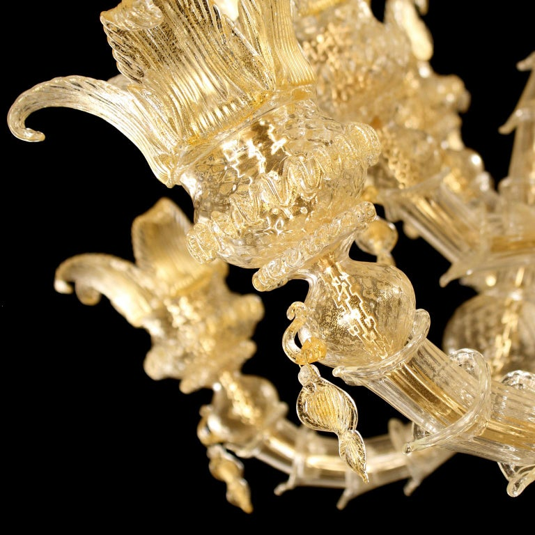 Italian Luxury Artistic Rezzonico Chandelier 8+8 Arms Gold Murano glass by Multiforme For Sale