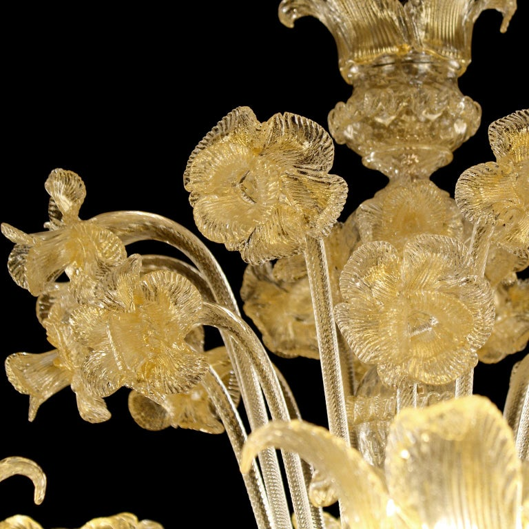 Luxury Artistic Rezzonico Chandelier 8+8 Arms Gold Murano glass by Multiforme In New Condition For Sale In Trebaseleghe, IT