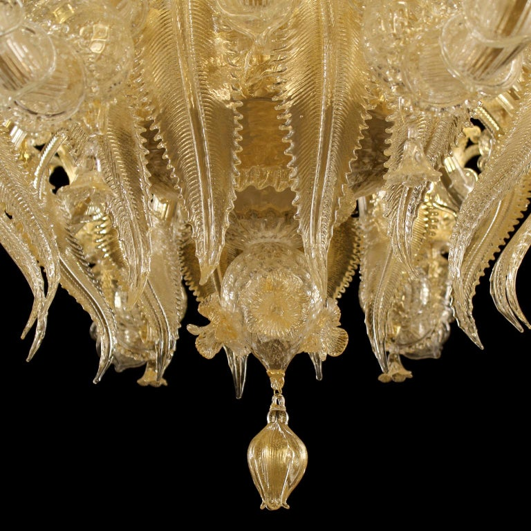 Contemporary Luxury Artistic Rezzonico Chandelier 8+8 Arms Gold Murano glass by Multiforme For Sale