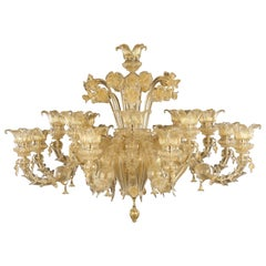 Luxury Artistic Rezzonico Chandelier 8+8 Arms Gold Murano glass by Multiforme