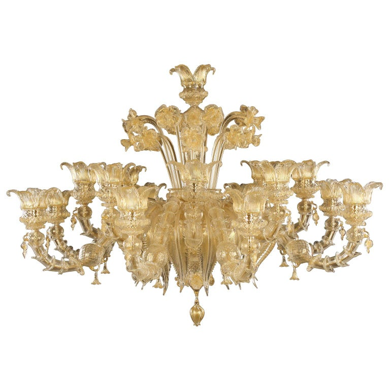 Luxury Artistic Rezzonico Chandelier 8+8 Arms Gold Murano glass by Multiforme For Sale
