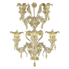 Luxury Artistic Rezzonico Sconce 5Arms Clear and Gold Murano Glass by Multiforme