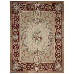 Luxury Aubusson Rugs, Handwoven Kahaki Carpet Needlepoint Floor Area Rug