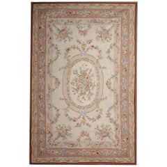 Luxury Aubusson Style Rug Light Beige Needlepoint Pink Floral Country Home Decor