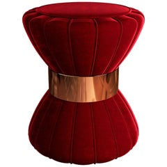 "Luxury ""Ballerina"" Contemporary Red Velvet Upholstered, Ottoman Pouf or Stool"