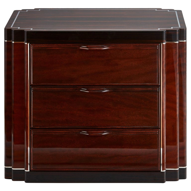 Luxury Bedside Cabinet in Two-Tone Exotic Wood Veneer, Customizable For Sale