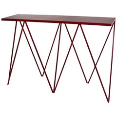 Burgundy Giraffe Console Table with Natural Linoleum Top Customizable