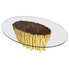 "Luxury ""Bellagio"" Contemporary Modern Dining Table in Gilt Brass, Walnut & Glass"