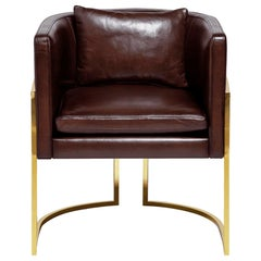 Luxury Beverly Hills Art Deco Contemporary Leather Upholstered Dining & Armchair