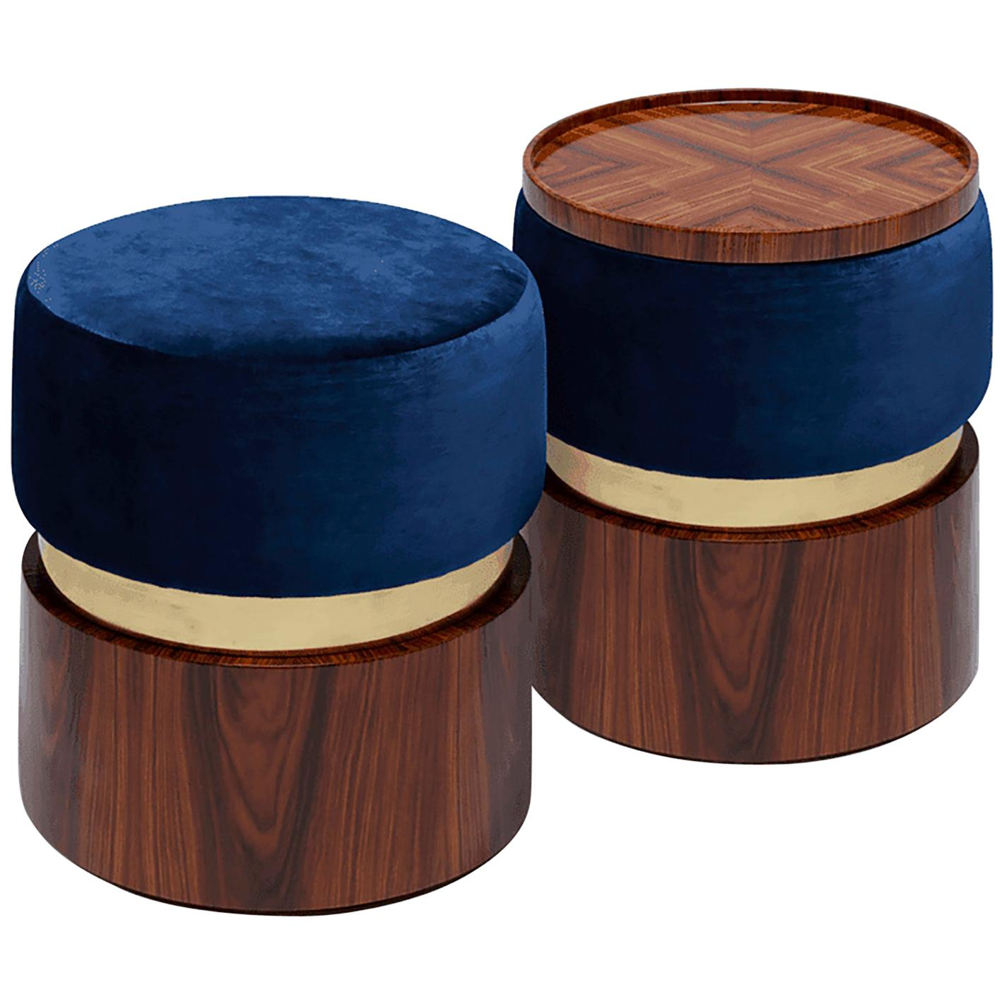 """Luxury """"Bonnie"""" Contemporary Upholstered Modern Ottoman Pouf Stool, Coffee Table"""