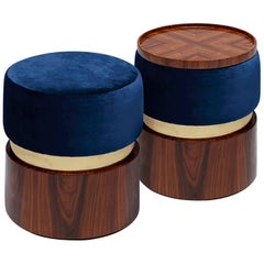 "Luxury ""Bonnie"" Contemporary Upholstered Modern Ottoman Pouf Stool, Coffee Table"