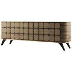"Luxury ""British"" Contemporary Modern Sideboard in Walnut Wood and/or Oak & Brass"