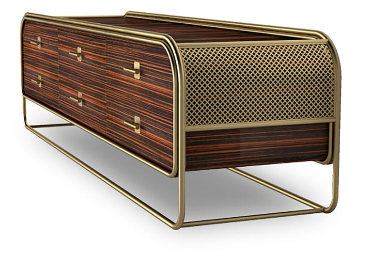 Portuguese Luxury Broadway Contemporary Art Deco Streamline Cabinet Sideboard Console For Sale