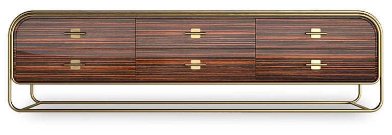 Brushed Luxury Broadway Contemporary Art Deco Streamline Cabinet Sideboard Console For Sale