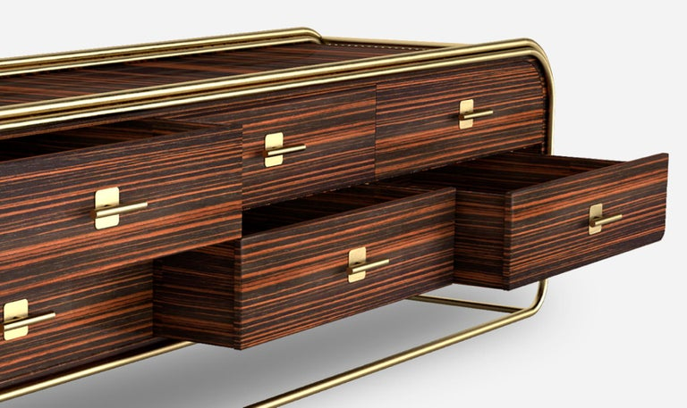 Luxury Broadway Contemporary Art Deco Streamline Cabinet Sideboard Console In New Condition For Sale In Coimbra, PT