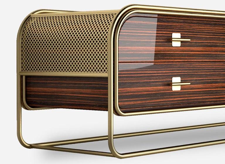 Brass Luxury Broadway Contemporary Art Deco Streamline Cabinet Sideboard Console For Sale