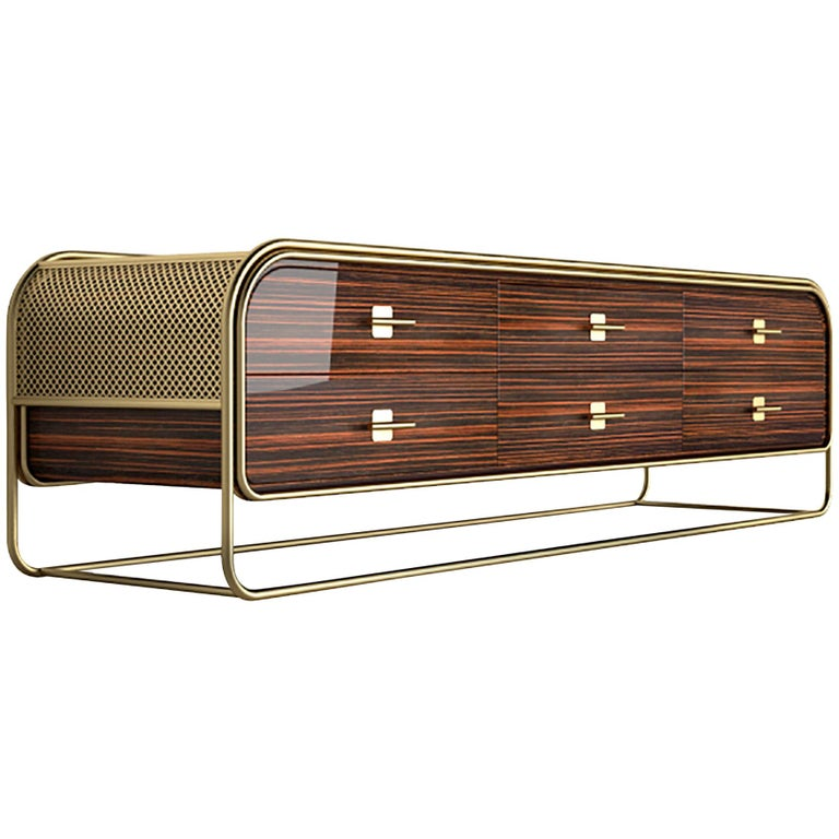 Luxury Broadway Contemporary Art Deco Streamline Cabinet Sideboard Console For Sale