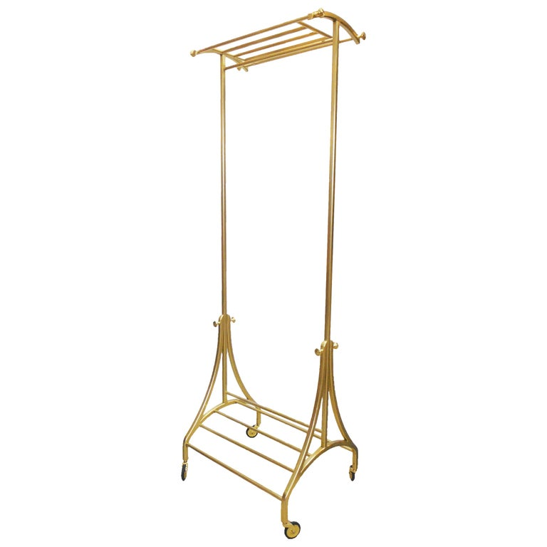 Luxury Bronze Rolling Clothing and Shoe Rack, in Stock (8) For Sale