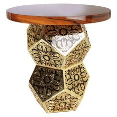 "Luxury ""Cairo"" Contemporary Modern Center Side Table Ironwood Brass Black Glass."