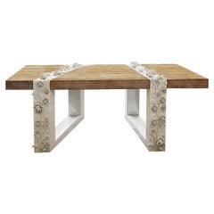 """Luxury """"Cannes"""" Contemporary Modern Coffee & Center Table in Oak & Carved Wood"""