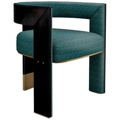 """Luxury """"Chelsea"""" Midcentury Contemporary Linen Upholstered Dining and Armchair"""