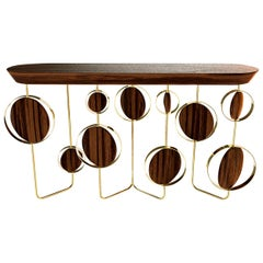 "Luxury ""Circle"" Contemporary Modern Console Table in Walnut, Wood & Brass"