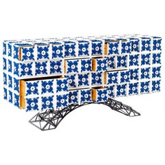 Luxury Contemporary Modern Cabinet Sideboard in Iron and Blue Hand Painted Tiles