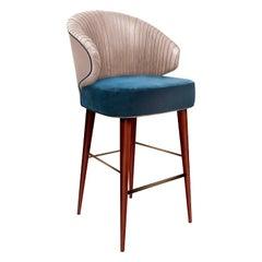 Luxury Contemporary Modern Colorado Bar Chair Velvet Upholstered, Walnut & Brass