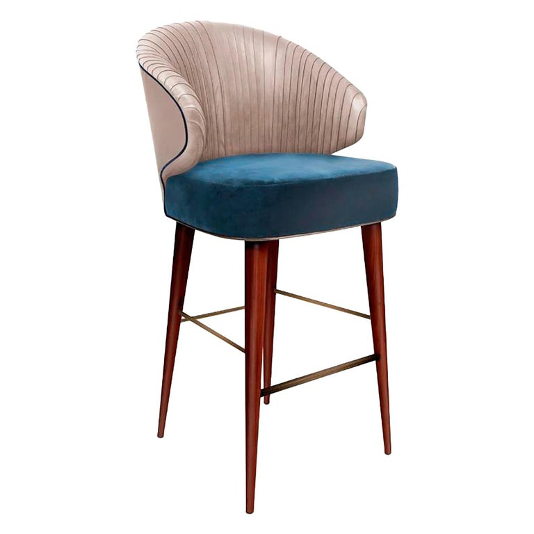 Luxury Contemporary Modern Colorado Bar Chair Velvet Upholstered, Walnut & Brass For Sale