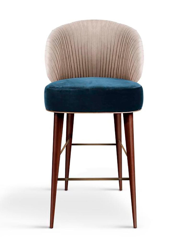 Mid-Century Modern Luxury Contemporary Modern Colorado Bar Chair Velvet Upholstered, Walnut & Brass For Sale