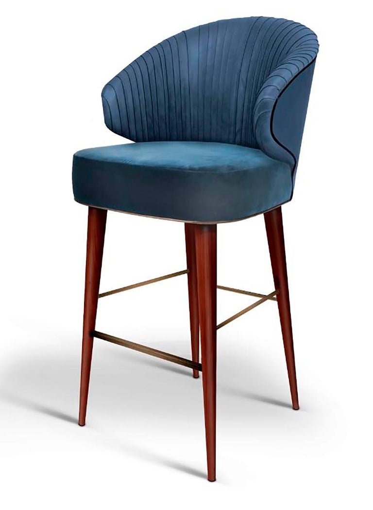 Wood Luxury Contemporary Modern Colorado Bar Chair Velvet Upholstered, Walnut & Brass For Sale