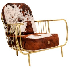 Luxury Contemporary Modern Cow Leather Fur Upholstered and Gilt Brass Armchair