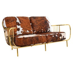 Luxury Contemporary Modern Cow Leather Fur Upholstered & Gilt Brass Living Sofa