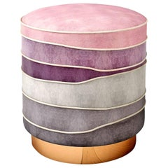 "Luxury Contemporary ""Paris"" Pink Velvet Upholstered Ottoman, Pouf or Stool"