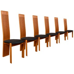 Luxury Costantini Pietro High Back Modern Italian Cherry Dining Chairs
