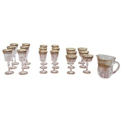 Luxury Crystals Glasses Set with Gold Decoration 24 Glasses and 1 Water Jug