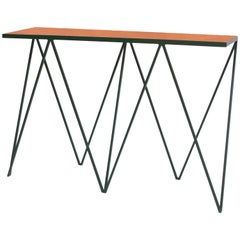Luxury Deep Green Giraffe Console Table with Tan Leather Top