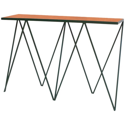 low priced 11abd 15de8 Luxury Deep Green Giraffe Console Table with Tan Leather Top