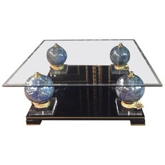 Luxury Design Living Room Table Ceramic Balls in Marble Look Acrylic with Brass
