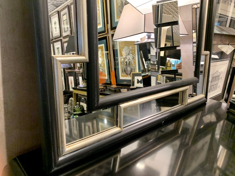 Hand-Crafted Italian Contemporary handcrafted mirror with black and silver frame  For Sale