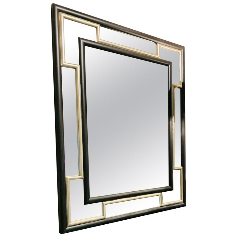 Italian Contemporary handcrafted mirror with black and silver frame  For Sale