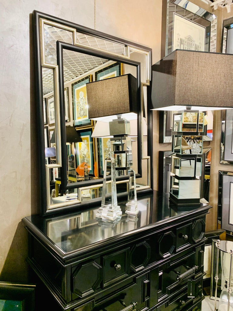 Handcrafted mirror with  black and  silver leaf detailing frame entirely  produced in Florence , Italy  by Artecornici design. This collection was produced in 2019 and presented during the last Edition of the Milan Furniture Fair. Artecornici design